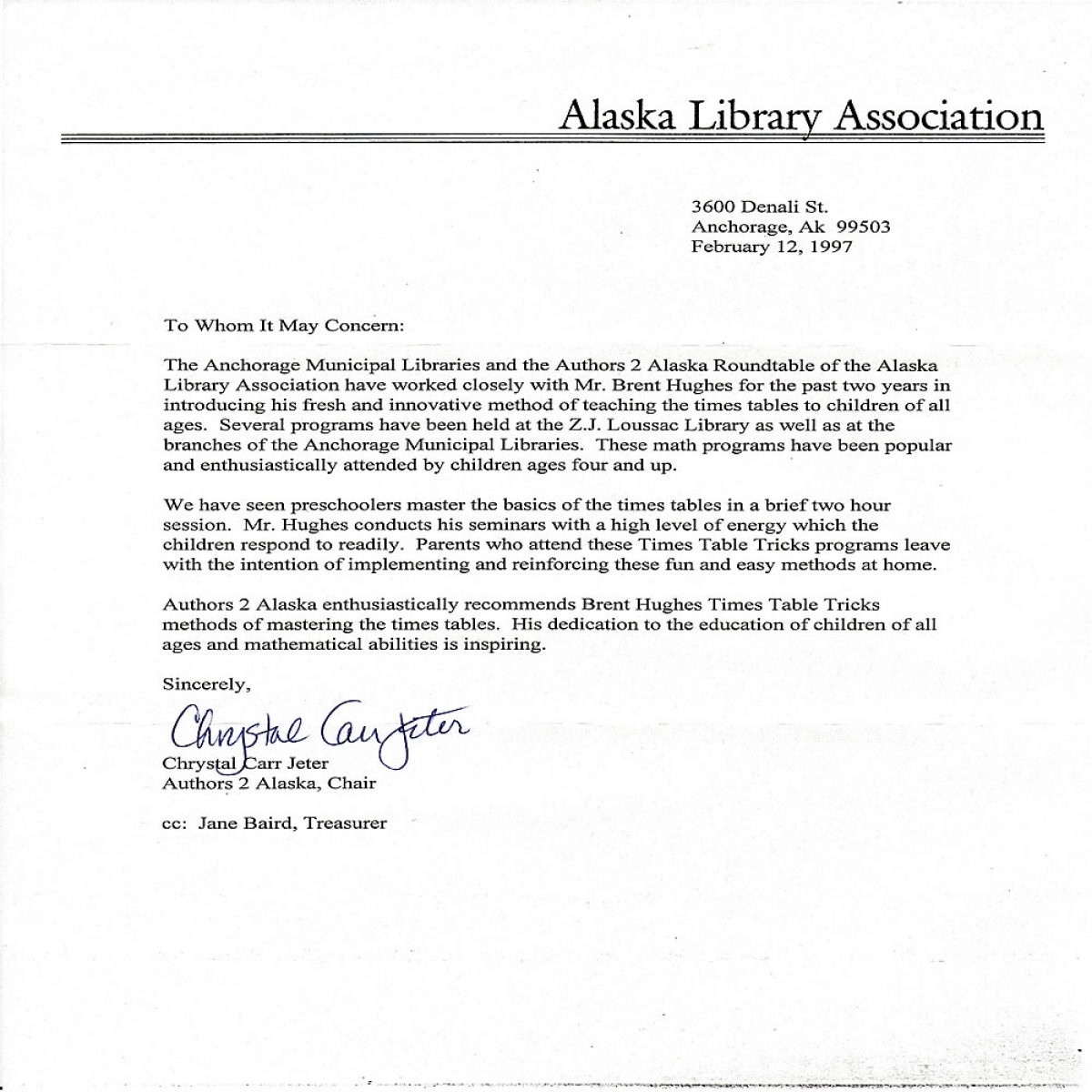 "Alaska Library Association recommends ""Times Table Tricks"""