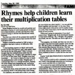 Rhymes help children learn their multiplication tables